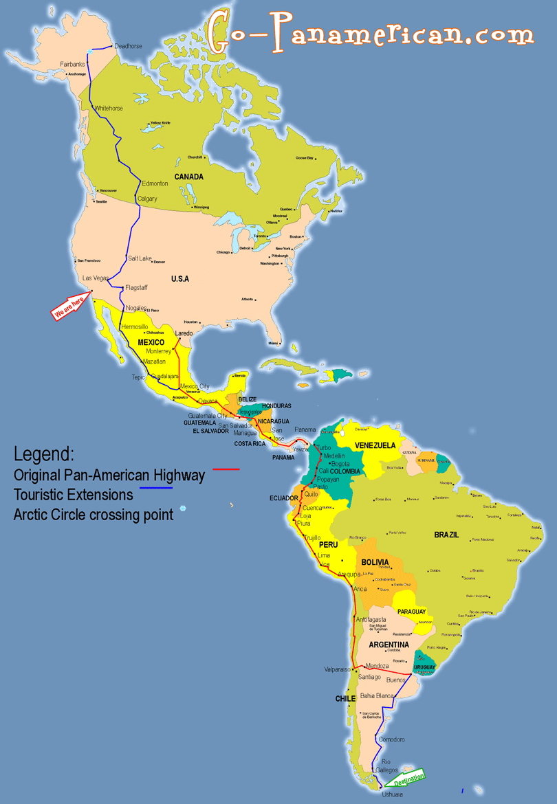The Pan-American highway map
